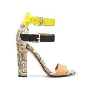 Zara snakeskin neon heels, size 7, new
